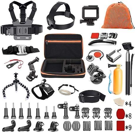 Bag Set for GoPro NEW HERO // HERO7 //6 //5 //5 Session //4 Session //4 //3+ Tripod Mount Adapter Telescopic Handheld Monopod Floating Hand Grip 5 in 1 Shockproof EVA Protective Camera Case Screws