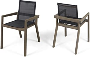 Great Deal Furniture Jimmy Outdoor Acacia Wood and Mesh Dining Chairs (Set of 2), Gray