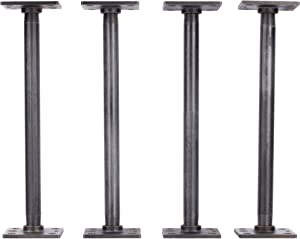 """PIPE DÉCOR 1/2"""" X 12"""" Table Legs with New Square Flanges Set of 4 Authentic Industrial Pipes for Custom Vintage Furniture, Tables, and Desks Rustic DIY KIT with Hardware (12 inch)"""