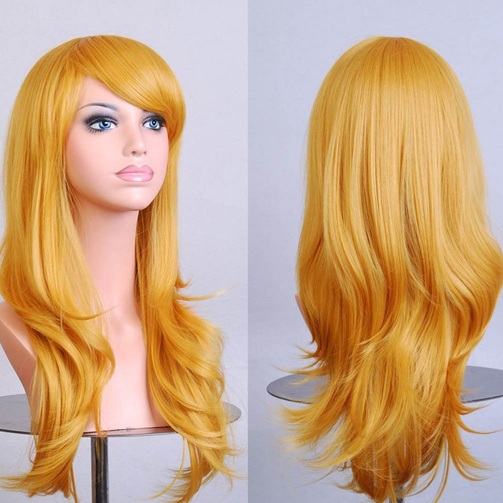 Rise World Wig New Fashion 28 Long Curly Heat Resistant Big Wavy Cosplay Hair Wig(Mint Green)