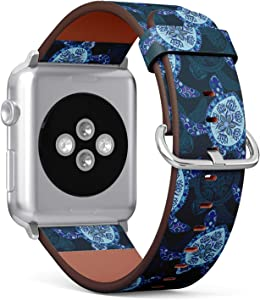Compatible with Big Apple Watch 42mm & 44mm (Series 5, 4, 3, 2, 1) Leather Watch Wrist Band Strap Bracelet with Stainless Steel Clasp and Adapters (Turtles Can Be)