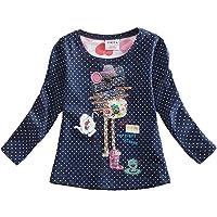VIKITA Printemps T-Shirts Manches Longues Coton Fille 1-6 Ans