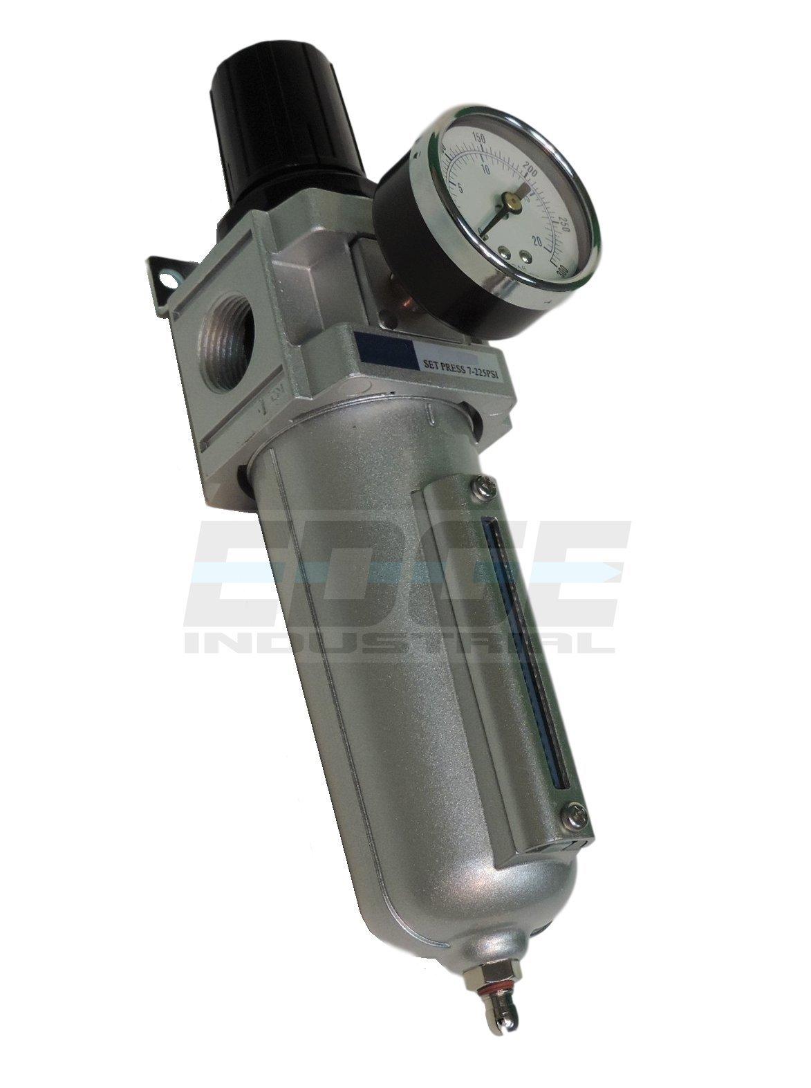 HEAVY DUTY COMPRESSED AIR FILTER REGULATOR COMBO PIGGYBACK, METAL BOWL, 3/4'' NPT PORTS, 140 CFM, VISIBLE SIGHT GLASS, 5 MICRON ELEMENT