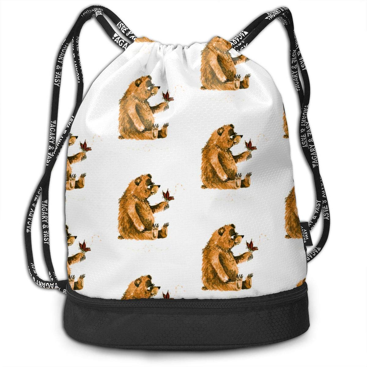 Bear Meets New Friend Drawstring Backpack Sports Athletic Gym Cinch Sack String Storage Bags for Hiking Travel Beach