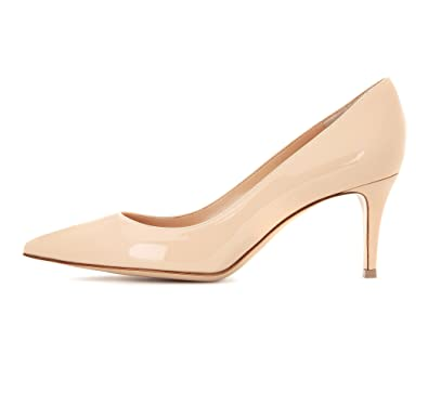 f549c18364f Sammitop Women s 6.5cm Classic Kitten Heel Pumps Pointed Toe Mid Heel Dress  Shoes Beige US5