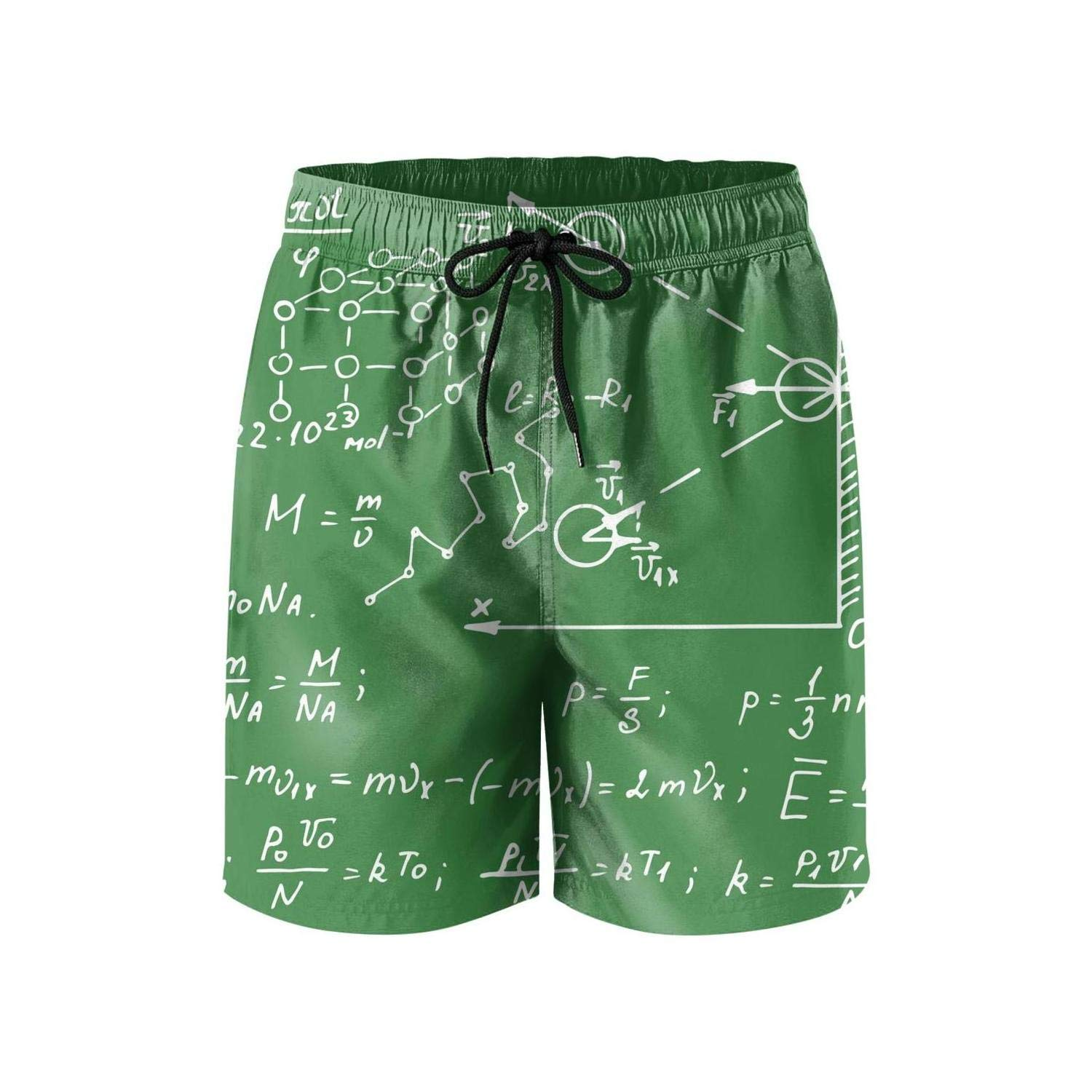NDKSO3UH Math Equations Science Physical Mens Swim Trunks Quick Dry Beachwear Mesh Lining Beach Board Shorts with Drawstring