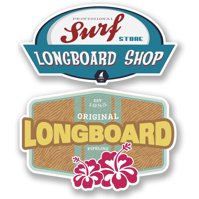 2 x Shaka Surfer Hand Vinyl Sticker Laptop Travel Luggage Car #6360