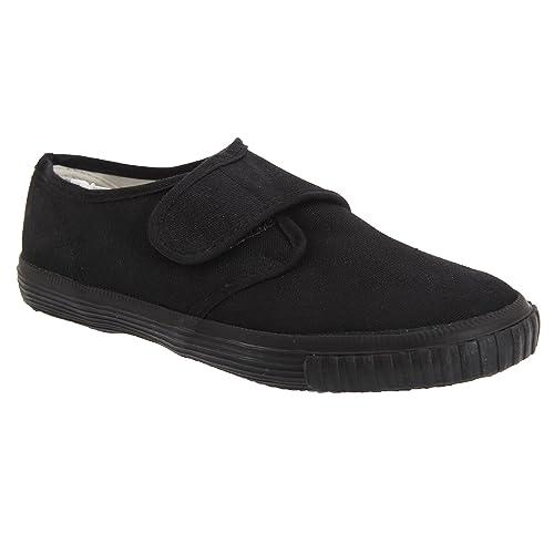 Dek Kids - Zapatillas unisex de tela negras de cierre adhesivo para niños/jóvenes (