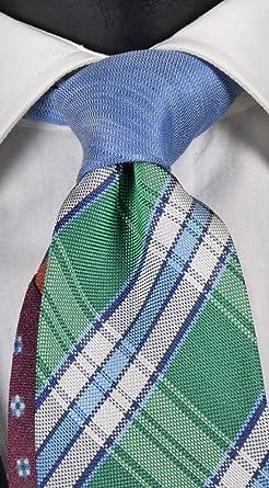 Graffeo Corbata de hombre de seda y lino verde a cuadros blancos y ...
