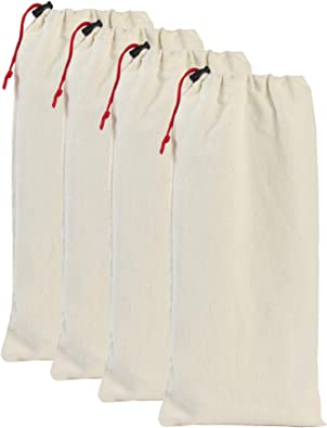 Earthwise Shoe Storage Bags 100% Cotton with Drawstring For Men and Women in Natural Great for Travel Made in the USA 17 inches X 8 inches Machine Washable Protecting and Storing Shoes (Set of 4)