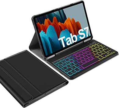 IVSO Backlit Español Ñ Teclado para Samsung Galaxy Tab S7, para Samsung Galaxy Tab S7 11.0 Teclado, 7 Colores Retroiluminado Wireless Teclado con Ñ ...