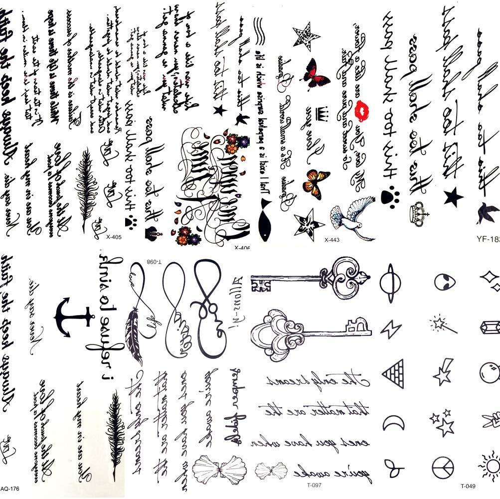 HXMAN 7 Unids Sexy Pluma Palabras Negro Letra Temporal Tatuaje ...