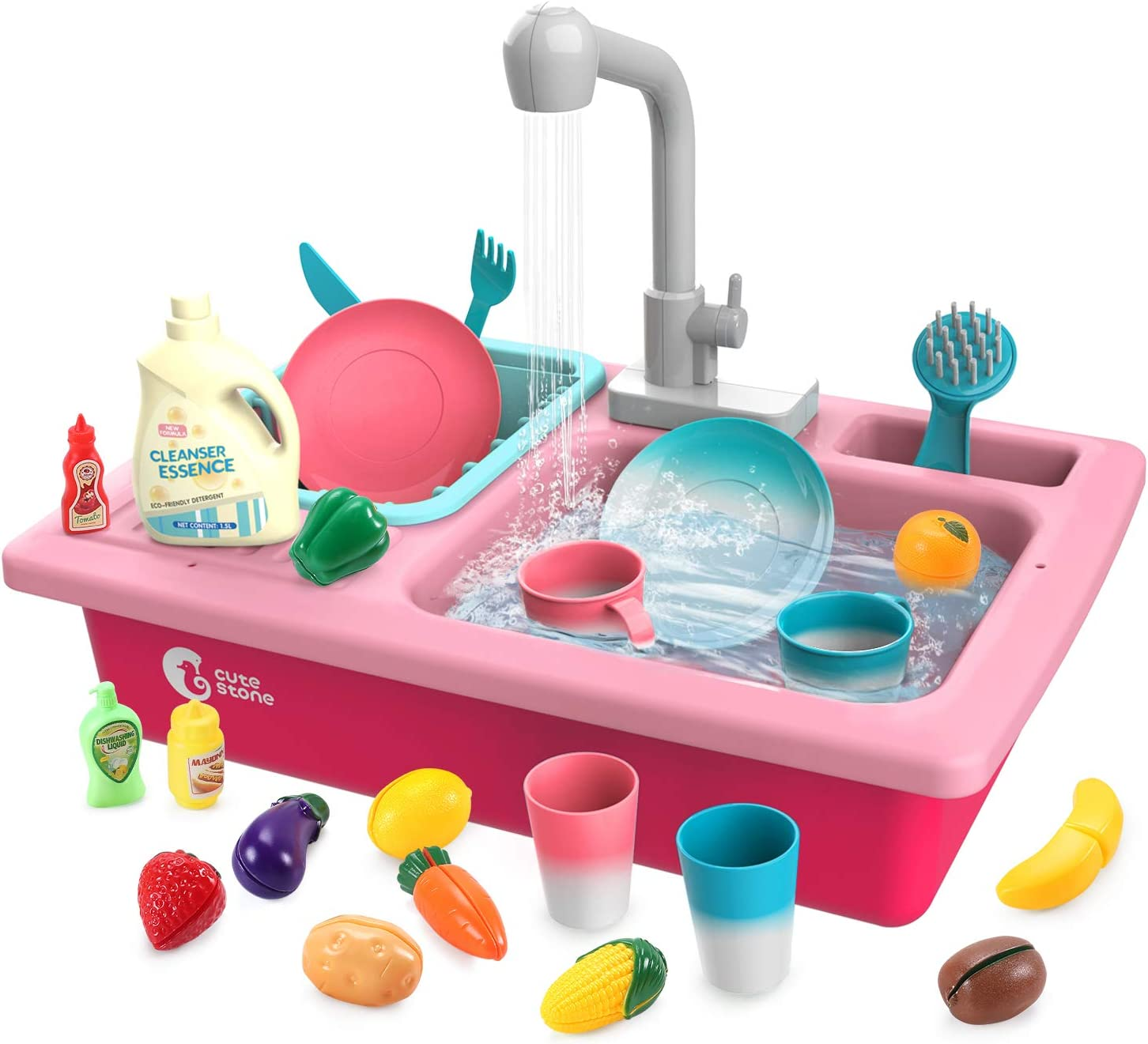 CUTE STONE Play Kitchen Sink Toys,Electric Dishwasher Playing Toy with Running Water,Upgraded Automatic Faucets and Color Changing Accessories, Role Play Sink Set Gifts for Kids Boys Girls Toddlers