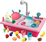 CUTE STONE Play Kitchen Sink Toys,Electric Dishwasher Playing Toy with Running
