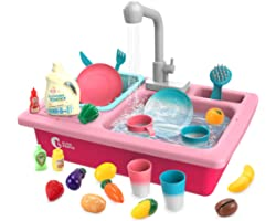 CUTE STONE Color Changing Play Kitchen Sink Toys, Children Electric Dishwasher Playing Toy with Running Water,Upgraded Real F
