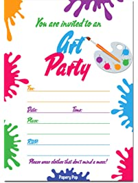 30 art party invitations with envelopes kids