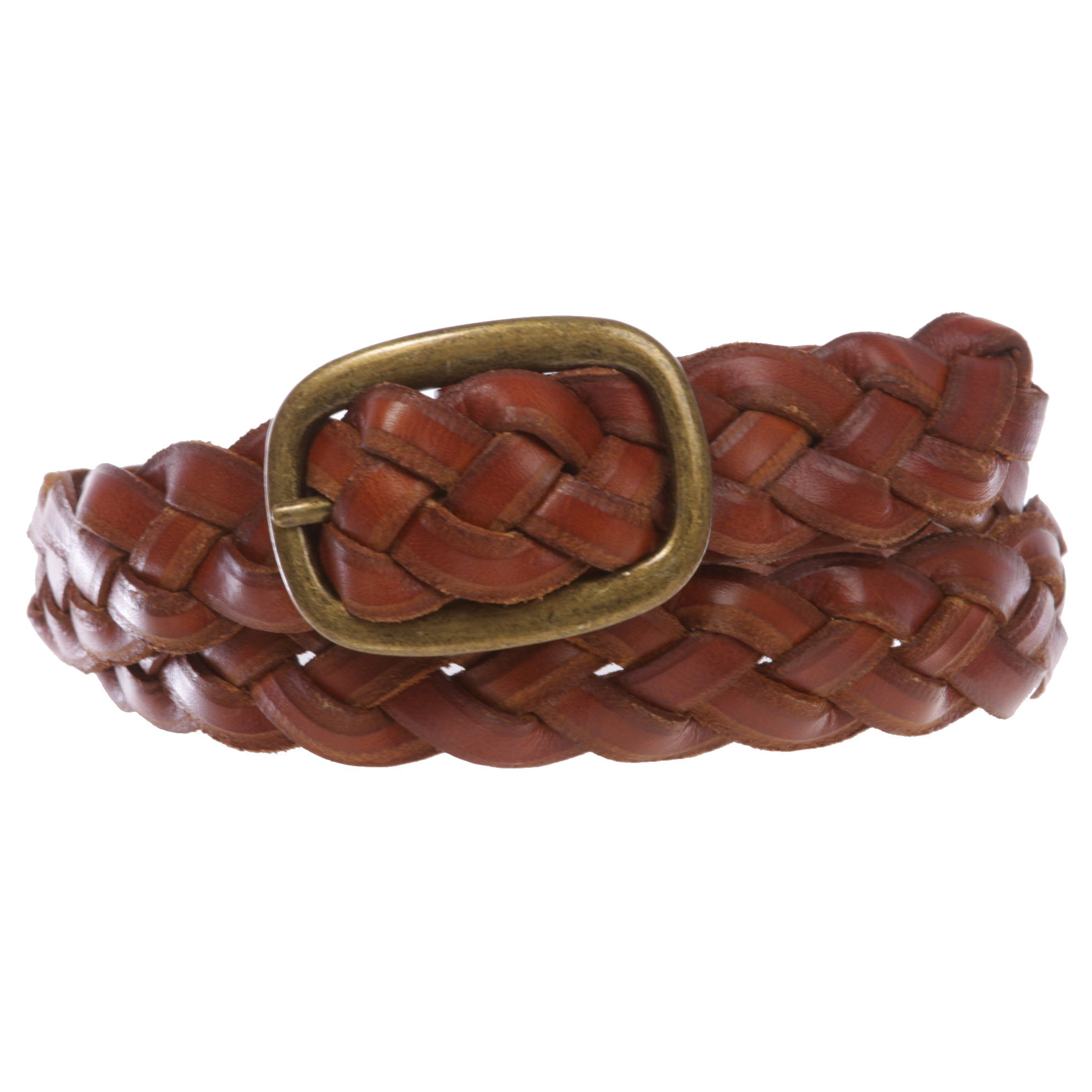 Women's 1 1/4'' Braided Woven Cowhide Top Full Grain Solid Two-Tone 3D Style Vintage Leather Belt, Tan | L/XL - 40''