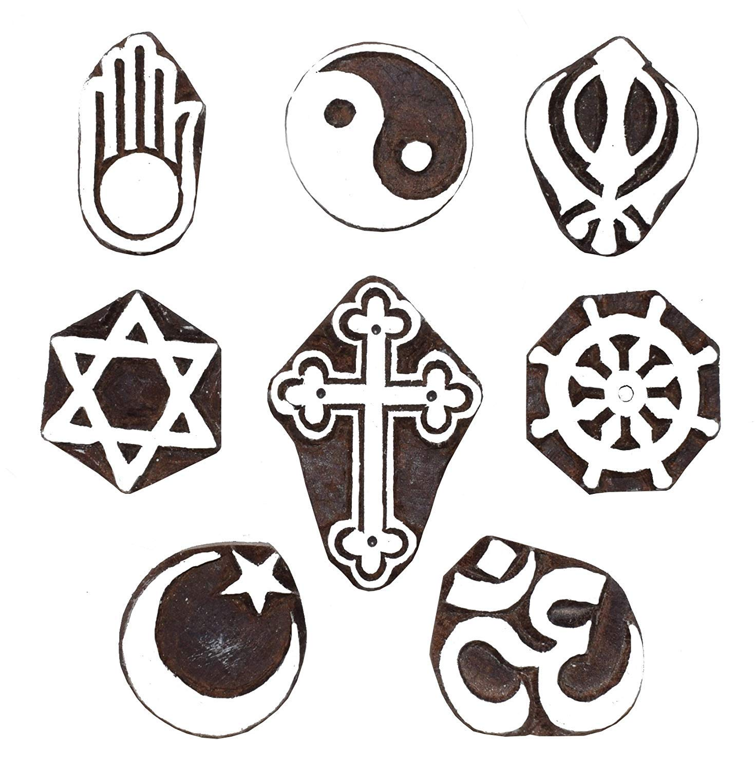 Various Religious Symbols Block Printing Stamps/Wooden Stamping Block/Handcarved Designer Craft Printin Scrapbooking,Pottery Crafts & Wall Painting, Set of 8