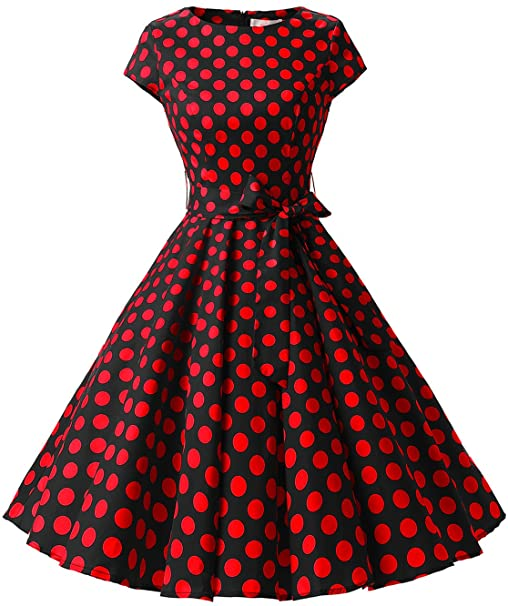 TALLA XS. Dressystar Vintage 1950s Polka Dot and Solid Color Prom Dresses Cap-Sleeve Black Red Dot B XS