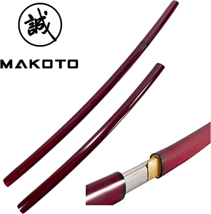 Makoto Handmade Japanese Shirasaya Samurai Katana Sharp Sword Burgundy Red