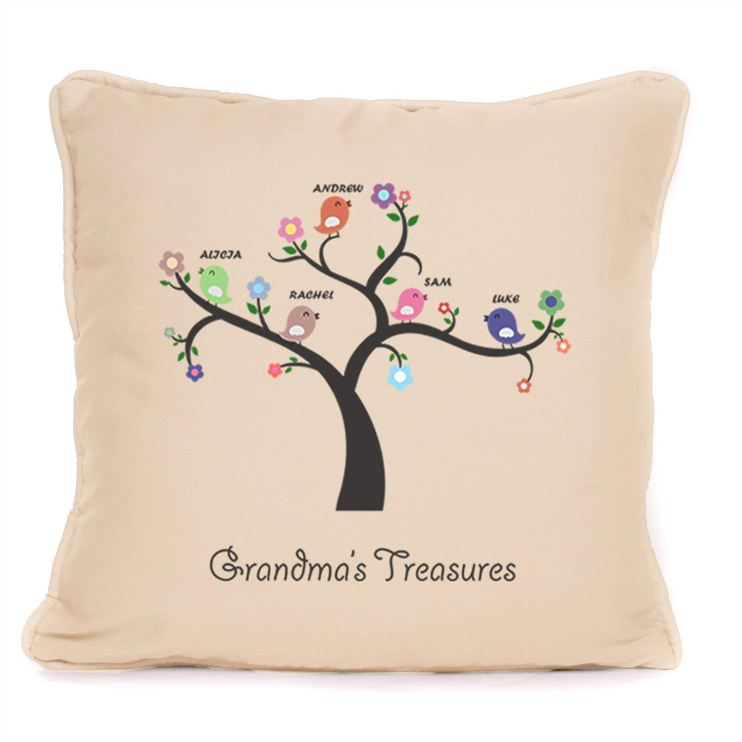 Personalized Cushion Pillow Cover Gift for Grandma - Grandma's Treasures Grandchildren - 18 x 18 Inch - Perfect Gift For Grandma For Mothers Day Birthday Christmas Or To Say Thank You