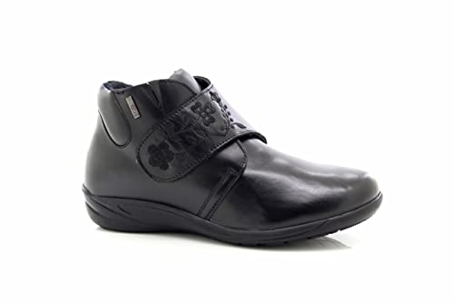 d1eeda5e334 Mod Comfys Ladies Wide Fit Fashion Black Leather Dual Fitting Ankle Boots - Black  Leather