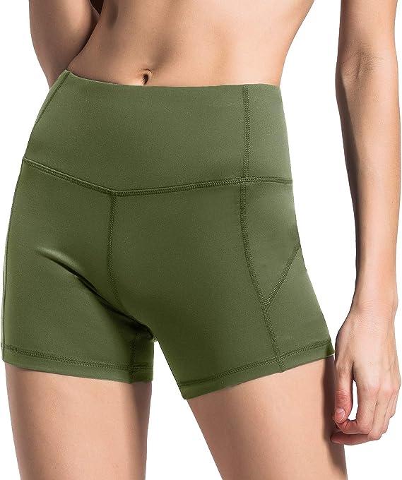 QUEENIEKE Women 4.5 Inches Inseam Sports Shorts Mid-Waist Tummy Control Yoga Train Running 0611