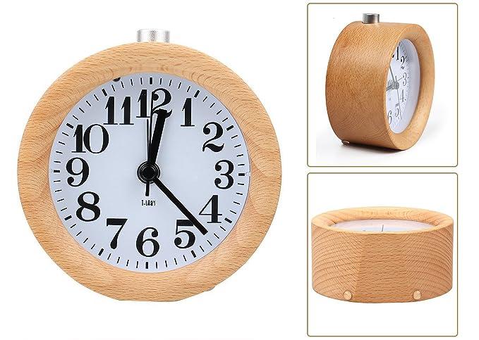 Bestfire sveglia da comodino sveglia digitale in legno stile