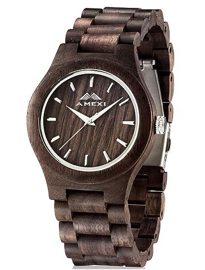 AMEXI Reloj de madera para hombre, Relojes de pulsera de madera, Movimiento de cuarzo japonés Pantalla analógica: Amazon.es: Relojes