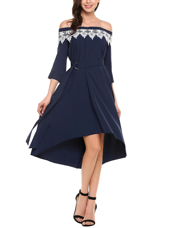 78b185f96d Dickin Women Casual Slash Neck Off Shoulder Short Sleeve Pleated Swing Dress  Belt at Amazon Women s Clothing store