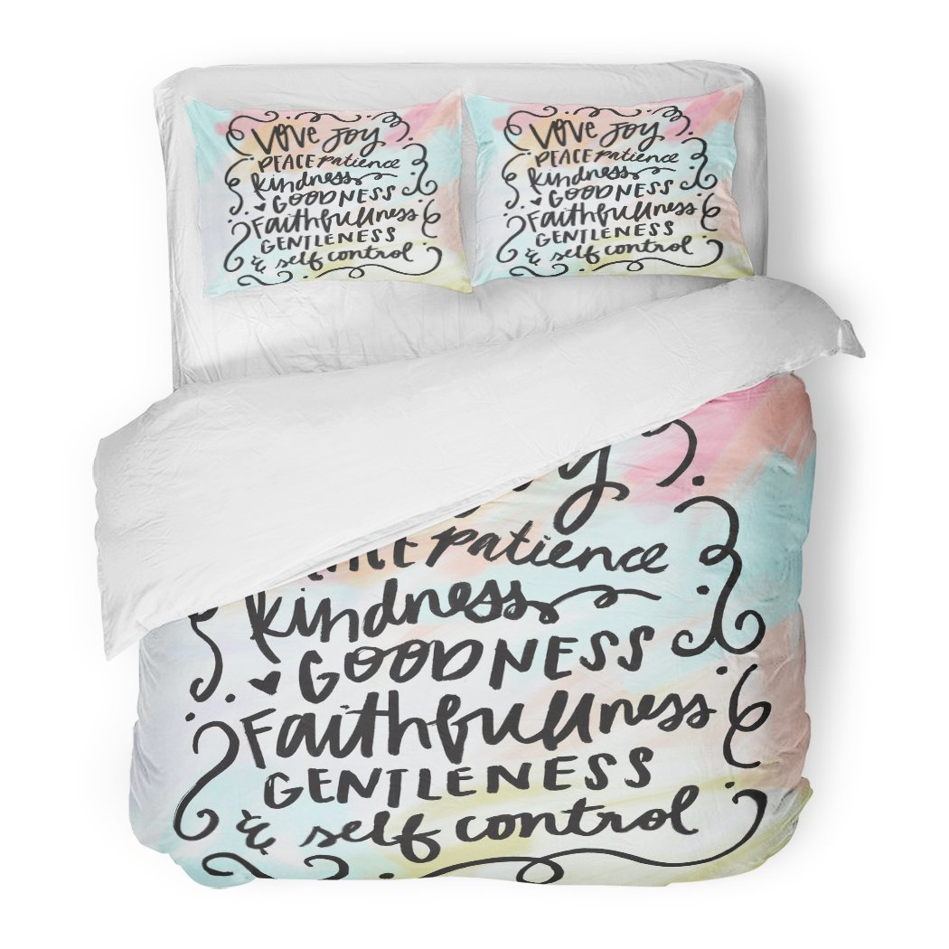 SanChic Duvet Cover Set Lettering Fruit The Spirit Bible Verse Christian Wall Love Brush Decorative Bedding Set 2 Pillow Shams King Size