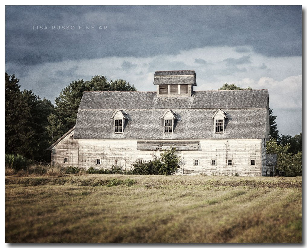 Farmhouse Style Old White Barn Landscape Photograph