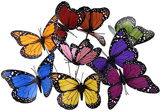 27 pcs 12 cm Colorido jardín Mariposas Adornos en Sticks Mariposa ...
