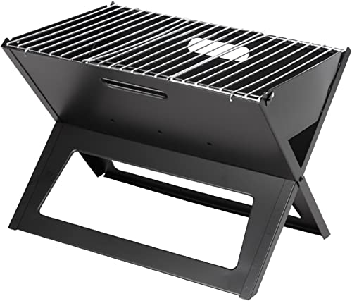 Fire Sense Black Notebook Charcoal Grill Heavy Duty 14 Inch Steel Construction For Outdoor Barbecues, Camping, Tailgating, Traveling Charcoal Rack and Folding Grill Included Foldable