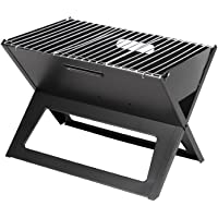 Fire Sense Black Notebook Charcoal Grill | Heavy Duty 14 Inch Steel Construction | For Outdoor Barbecues, Camping, Tailgating, Traveling | Charcoal Rack and Folding Grill Included | Foldable
