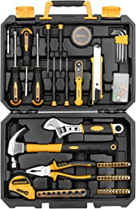 MERRCO 100 Piece Home Repair Tool Set,General Household Hand Tool Kit with Plastic Tool Box Storage