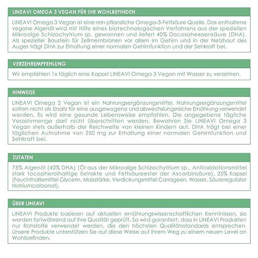 LINEAVI Omega 3 Vegano, ácidos Omega 3 Procedentes de Aceite de Algas, la Alternativa Vegetal a los preparados de Aceite de Pescado, Fabricado en ...