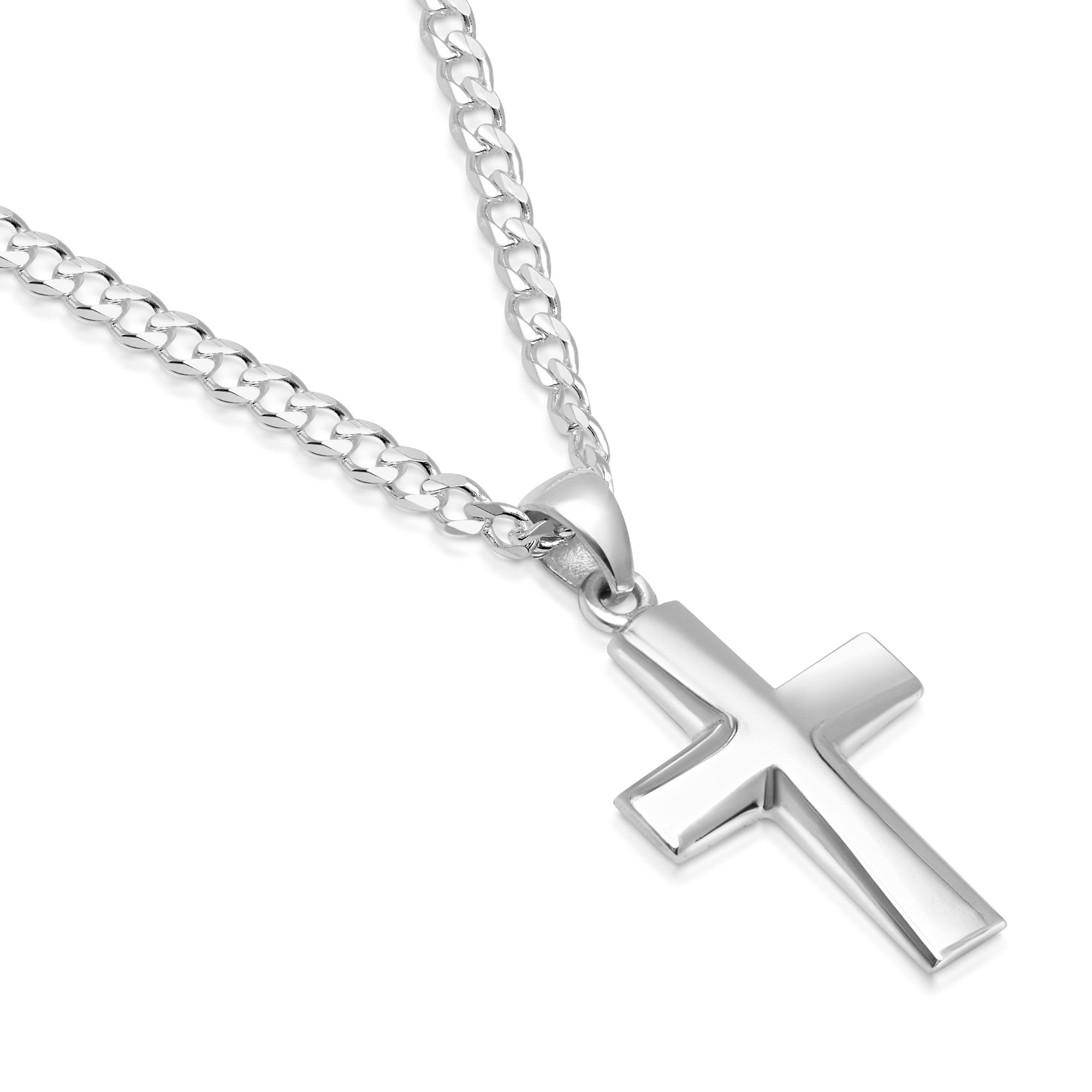 Sterling Silver Plain Cross Pendant Italian Made 3mm Curb Chain Necklace - 080 3mm - 20''