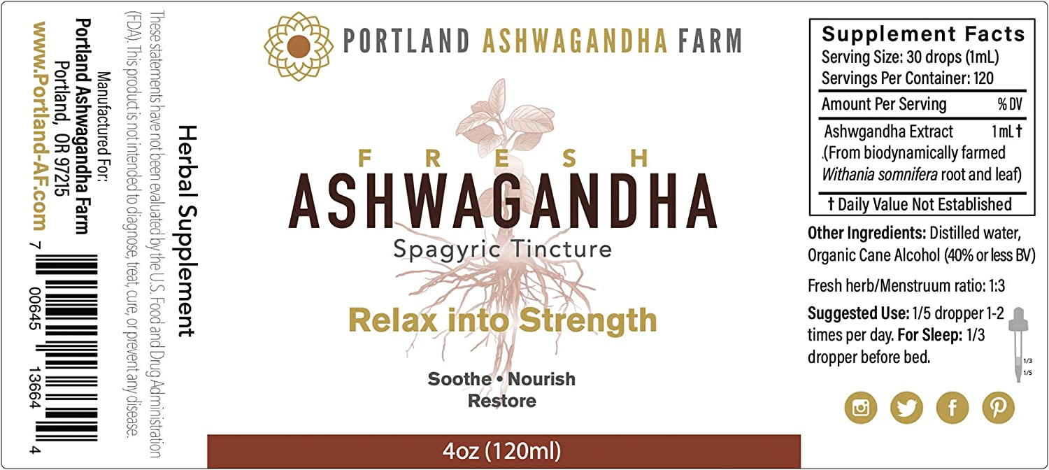 Amazon Com Fresh Not Dried Ashwagandha Adaptogenic Ayurvedic 4oz Liquid Tincture For Enhanced Absorption 2oz 4oz To Help Manage Stress Increase Energy Adrenal Mood And Thyroid Support Health Personal Care