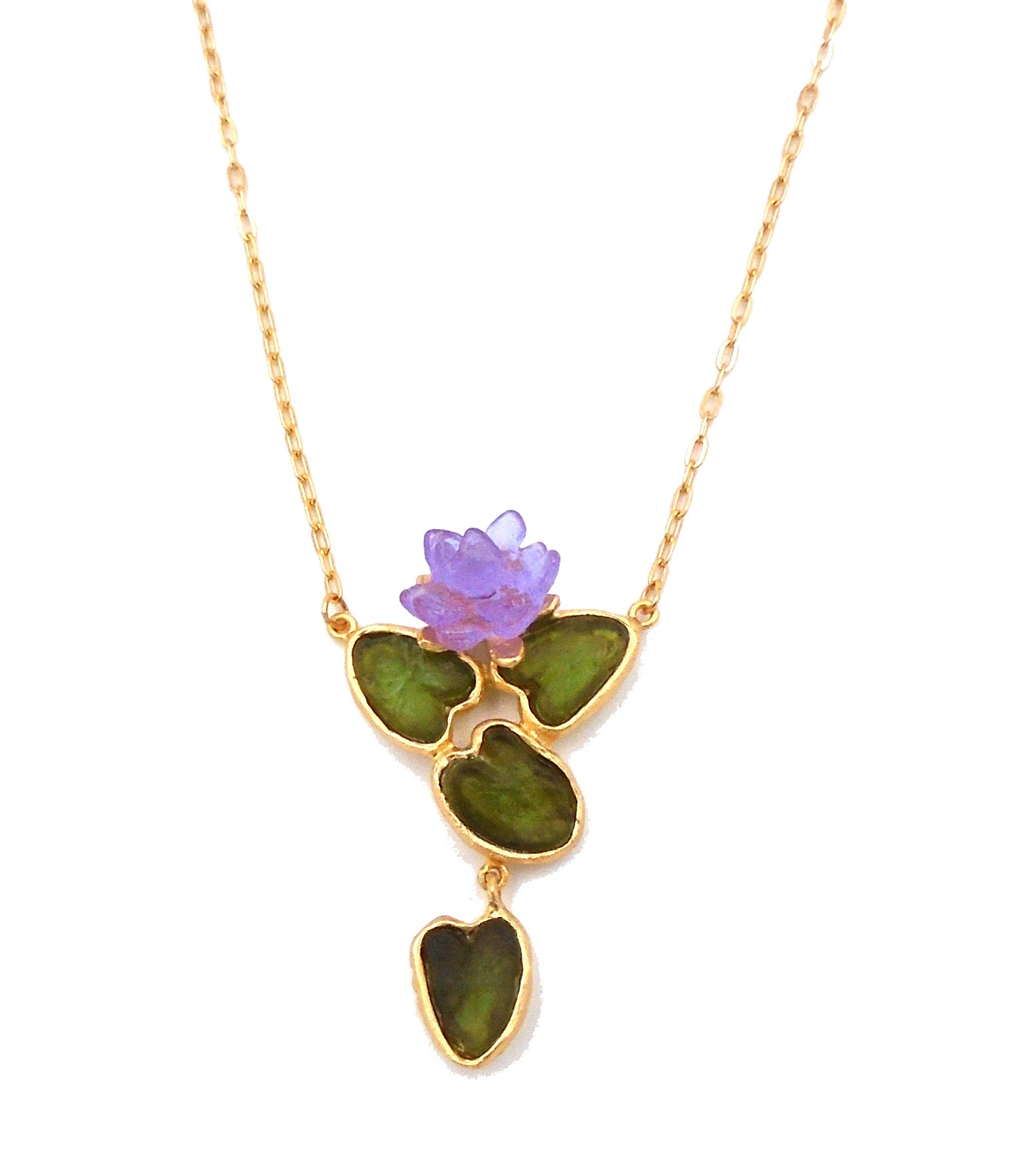 Michael Vincent Michaud- Glass ''Water Lily'' Pendant Necklace