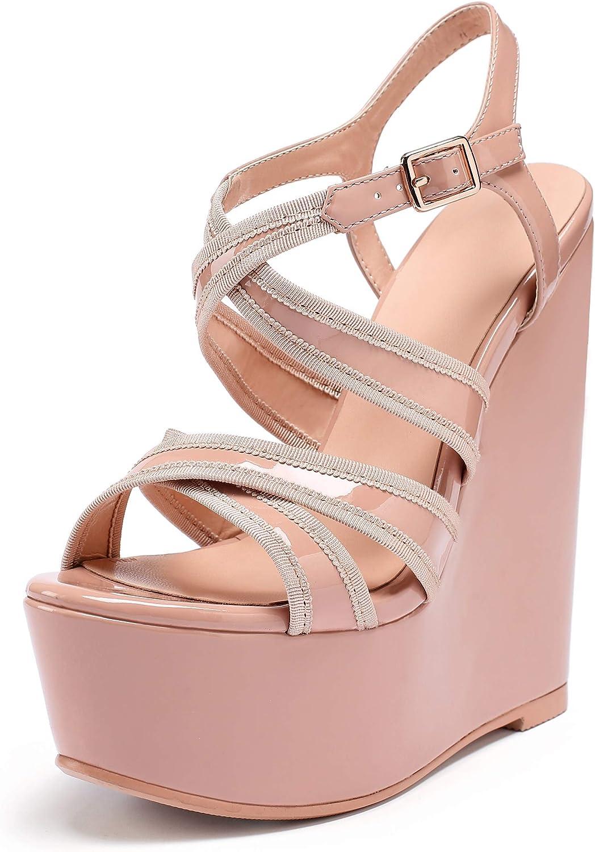 """Eldof Womens Wedge Platform Sandals Peep Toe Cross Strap Wedge Heel 6"""" Ankle Srap Summer Wedge Heels for Patry Wedding"""
