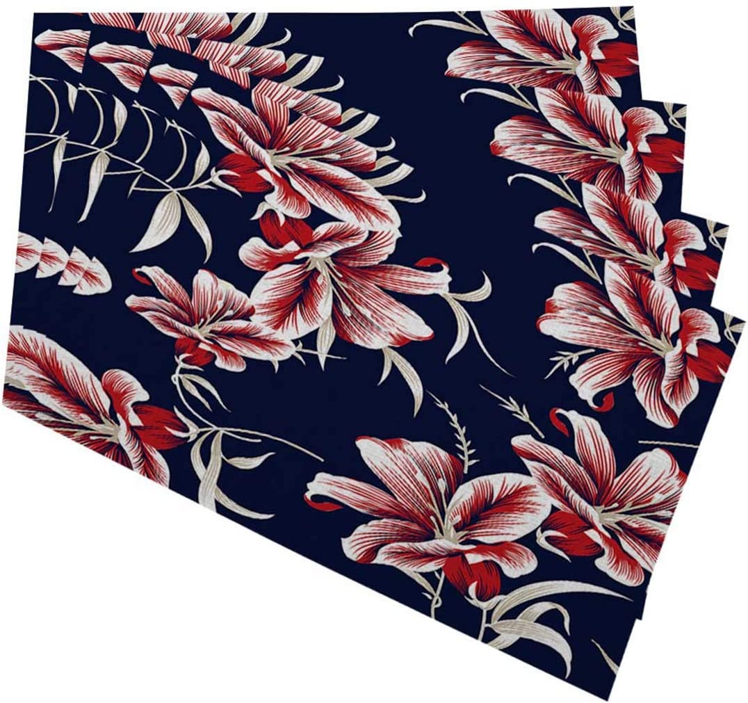 Amazon Com Mugod Red And White Flowers Placemats Seamless