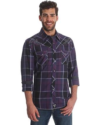 6312153d Wrangler Men's Rock 47 Purple Plaid Long Sleeve Western Shirt - Mrc318m at  Amazon Men's Clothing store: