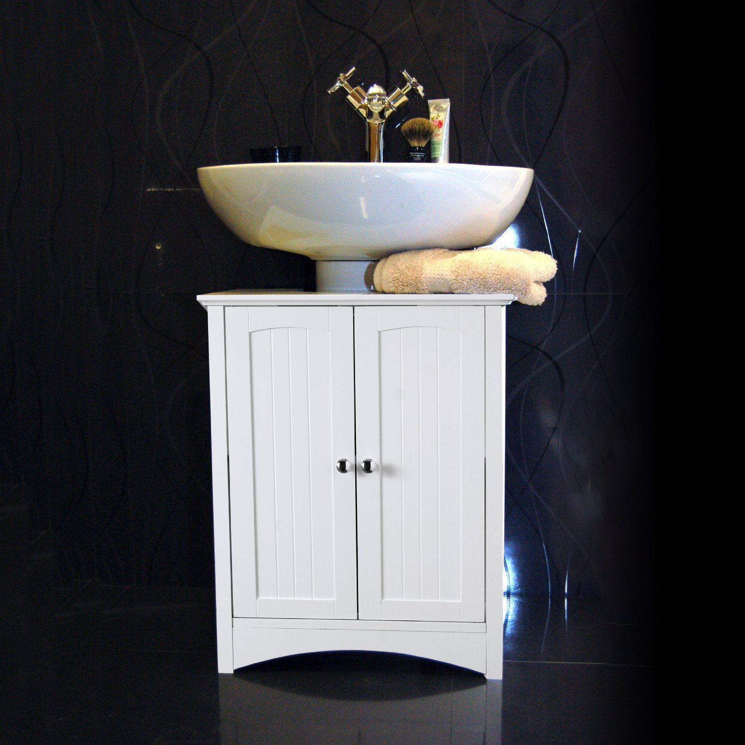 White Under Sink Bathroom Storage Cabinet: Amazon: Kitchen & Home