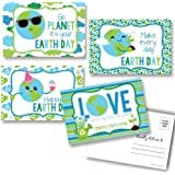 "Happy Earth Day Save Our Planet Themed Blank Postcards To Send To Friends & Family, 4""x6"" Fill In Notecards (4 Different Desi"