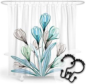 DESIHOM Flower Shower Curtain Watercolor Shower Curtain Wildflower Plant Shower Curtain Garden Botanical Shower Curtain Leaf Floral Shower Curtain Fall Polyester Waterproof Shower Curtain 72x72 Inch