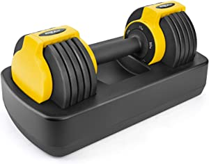 Wonder Maxi Adjustable Dumbbell, 25 lb Single Dumbbell with Anti-Slip Handle and Weight Plate, Fast Adjust Weight, Fitness Dumbbell for Men and Women for Full Body Workout Home Gym