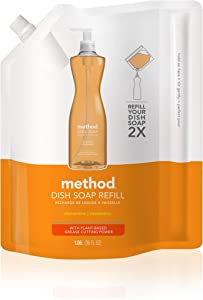 Method Liquid Dish Soap Refill, Plant-Based Dishwashing Liquid that Cuts Through Tough Grease for a Sparkling Clean, Clementine Scent, 1 Liter Bags, 2 Pack