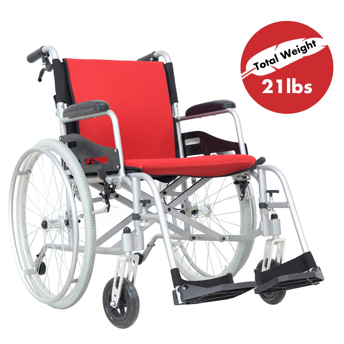 Hi-Fortune Wheelchair 21lbs Lightweight Self-propelled Chair with Travel Bag and Cushion, Portable and Folding with Magnesium Alloy, 17.5'' Seat, Red, 21lbs by Hi-Fortune