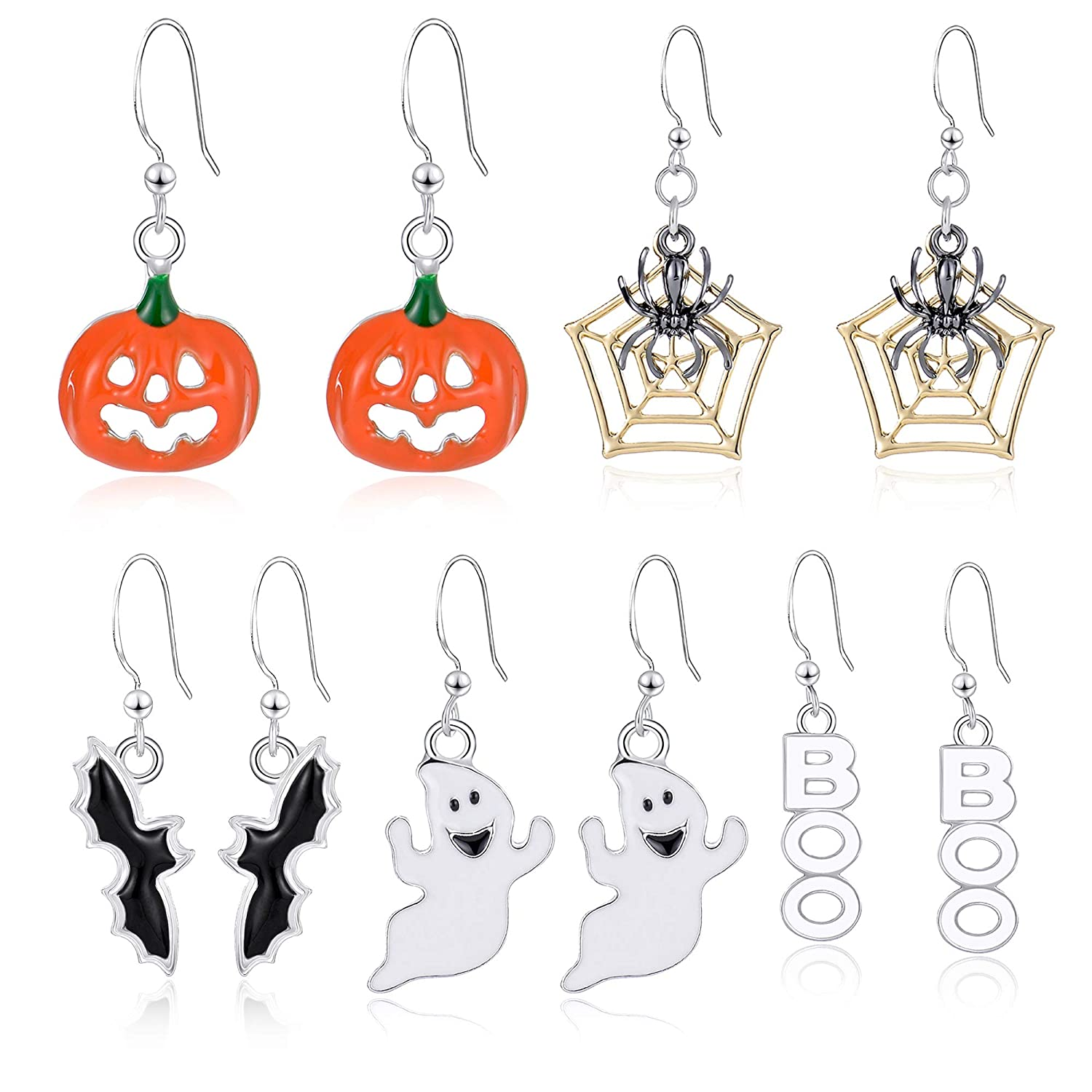 Miraculous Garden Halloween Theme 5 Pairs Drop Dangle Earrings Sets Including Halloween Spider Web Pumpkin Ghost Bat Boo Halloween Earrings for Women Girls HXHE0101A-5